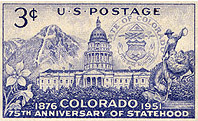 The Colorado Statehood Stamp Commemorates Colorados Entry Into United States In 1876 And Was Released On August 1 1951 Minturn CO